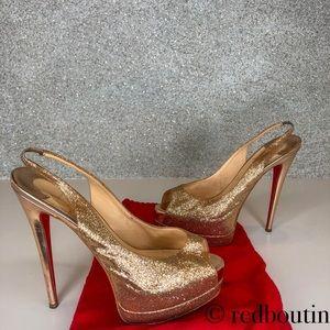 Louboutin palais royal glitter slingback peeptoe
